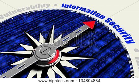 Compass with the needle pointing to the word information security and a blue digital watchface 3D illustration