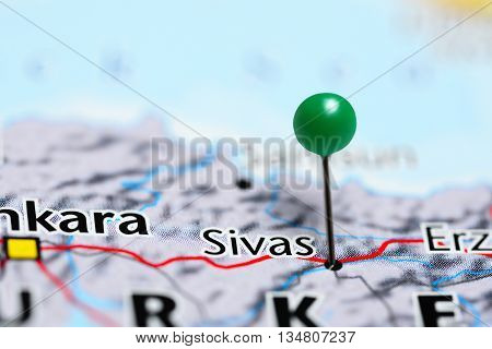 Sivas pinned on a map of Turkey