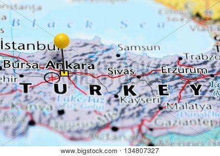 Ankara pinned on a map of Turkey