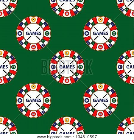 Seamless Pattern Of Vector Circle Logo Super Game On Green Backg