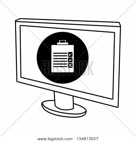 electronic device screen with black circle and white chekclist  icon over isolated background, vector illustration