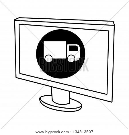 electronic device screen with black circle and fwhite truck icon over isolated background, vector illustration