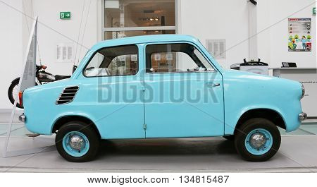 """SZCZECIN, POLAND - May 31, 2016: the old car """"Mikrus"""" in Szczecin, produced from 1957-1960 in Poland"""