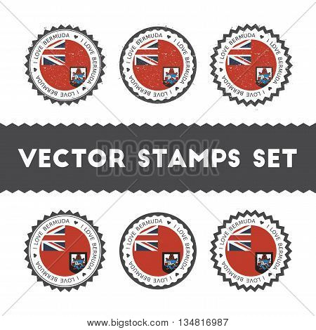 I Love Bermuda Vector Stamps Set. Retro Patriotic Country Flag Badges. National Flags Vintage Round
