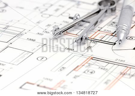 Architectural Background With Floor Plan, Drawing Compass And Pencil