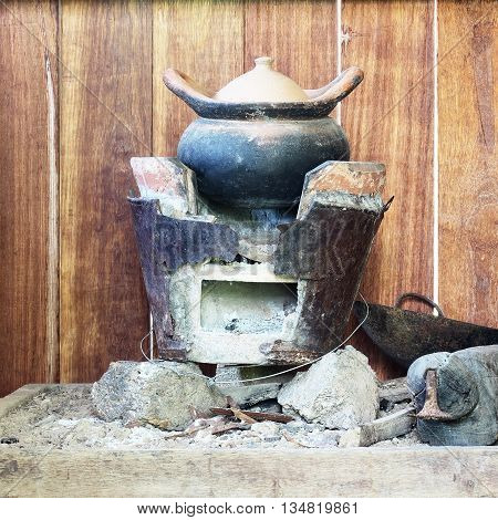 Traditional stove and pottery in Thai kitchen