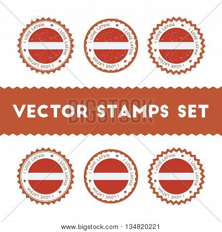 I Love Latvia Vector Stamps Set. Retro Patriotic Country Flag Badges. National Flags Vintage Round S