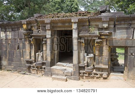 On the ruins of a hindu temple of Shiva (Shiva Devale). Polonnaruwa, Sri Lanka