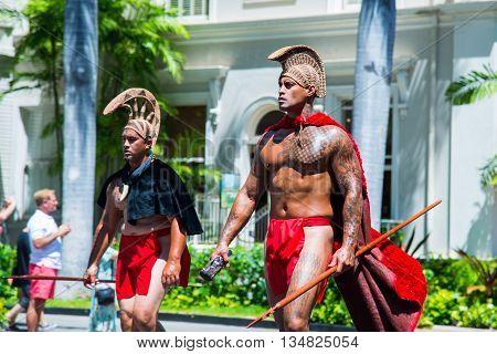 HONOLULU, HAWAII - June 11.  The 100th Annual King Kamehameha Day Parade on Saturday June 11, 2016 during the final stretch along the famed Kalakaua Avenue in Waikiki Beach.