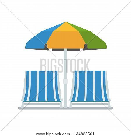 Chaise Lounges And Sun Umbrella