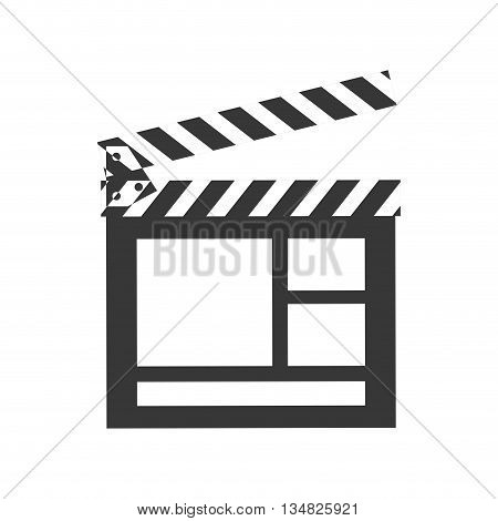 Movie and Cinema represented by classic clapboard icon over flat and isolated background