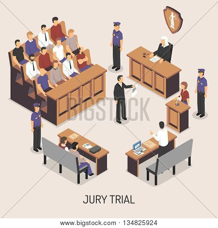 Jury trial isometric composition with officers of police court defendant lawyer witnesses on white background vector illustration