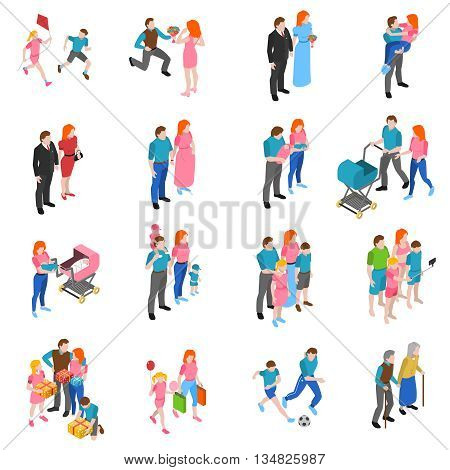 Family relations isometric icons set with engagement marriage parents with children and grandparents abstract isolated vector illustration