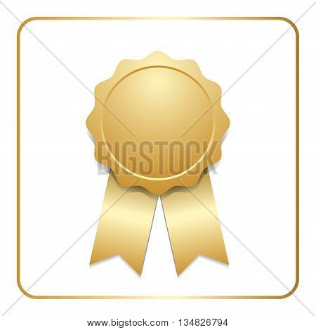 Award ribbon gold icon. Blank medal with stars isolated on white background. Stamp rosette design trophy. Golden emblem. Symbol of winner celebration sport achievement champion. Vector illustration