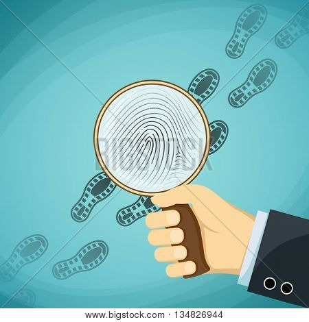 Detective holding a magnifying glass. Fingerprint. Stock Vector cartoon illustration.