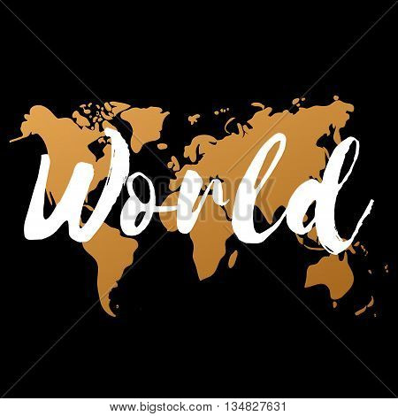 Vector gold world map on black background doodle. World map vector. World Gold map design. World map art. World map illustration. World map sign. World map flat. World map picture. World text