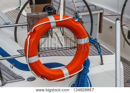 life buoy on a boat in detail