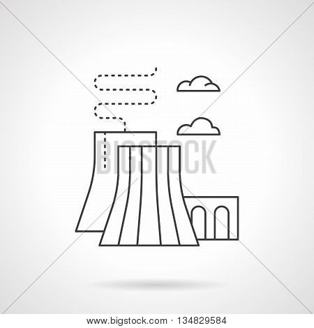 Industrial plants and factory. Thermal power station. Generation of electricity by converting heat released during combustion of fossil fuels. Flat line style vector icon.