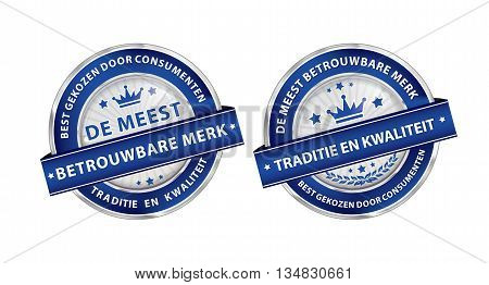The most trusted brand. Consumer's choice. Tradition and quality (Dutch language: De meest betrouwbare merk. Best gekozen door consumenten.) - blue ribbon set for retailers. Print colors used.