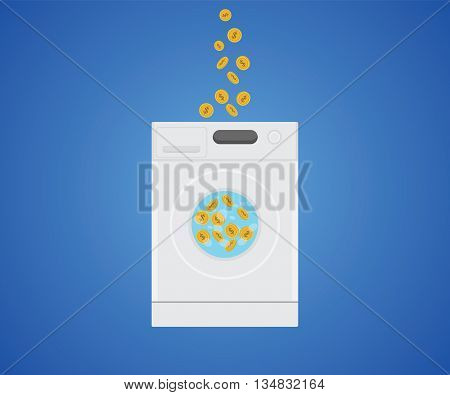 money laundry with money gold coin in laundry machine vector graphic illustration