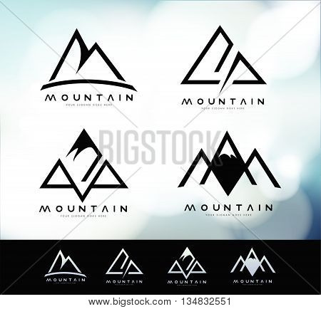 Retro Vintage Mountain Logo with blurred background. Mountain Linear Logo Design.