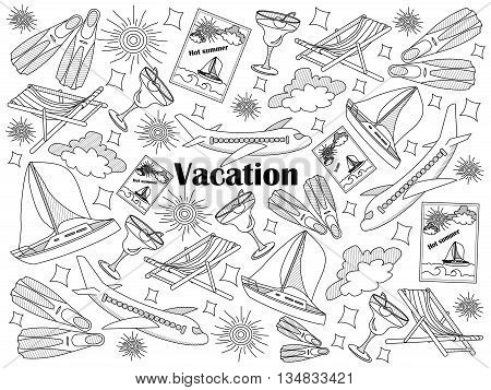 Vacation design colorless set vector illustration. Coloring book. Black and white line art
