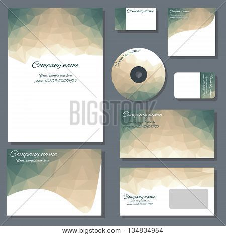 Set of templates for cd disks envelopes notebooks credit card business card and invitation card with polygonal ornament. Corporate style vector.