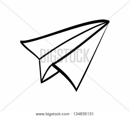 Simple and classic Paper plane  icon over flat and isolated background