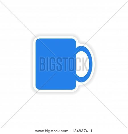 icon sticker realistic design on paper cofee cup