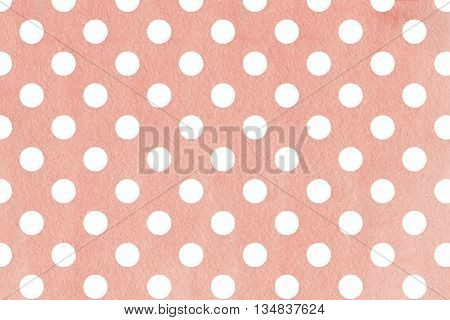 White Dots On Pink Watercolor Background.