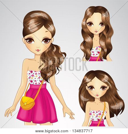 Vector illustration of brunette girl with different hairstyles in pink skirt poster