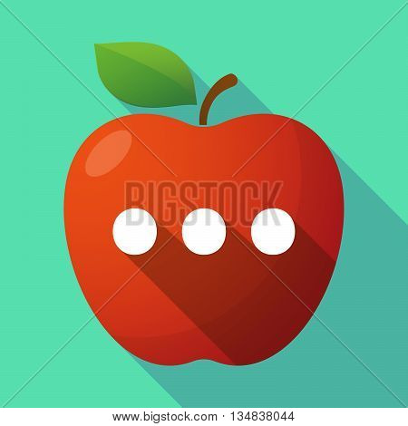 Long Shadow Red Apple Icon With  An Ellipsis Orthographic Sign