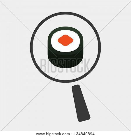 Isolated Magnifier Icon With A Piece Of Sushi Maki