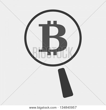 Isolated Magnifier Icon With A Bit Coin Sign