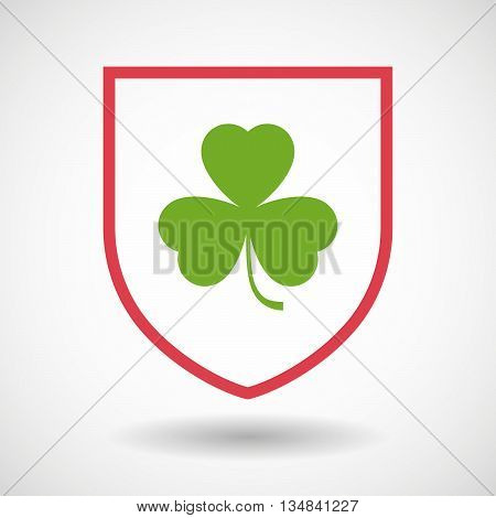 Isolated Line Art Shield Icon With A Clover