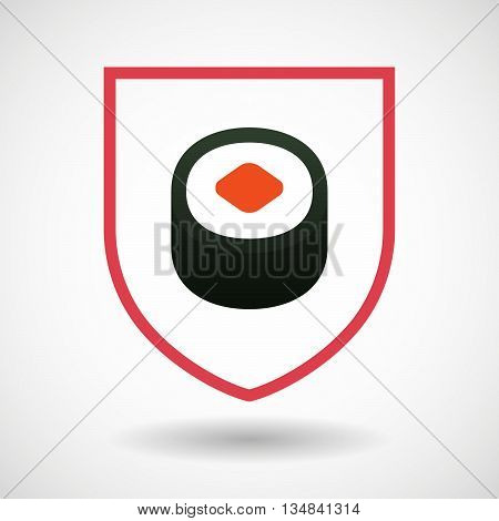 Isolated Line Art Shield Icon With A Piece Of Sushi Maki