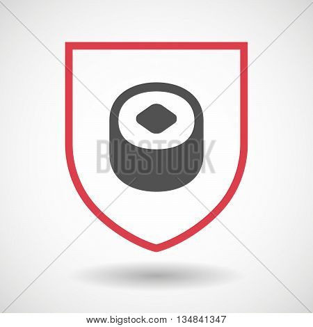 Isolated Line Art Shield Icon With A Piece Of Sushi