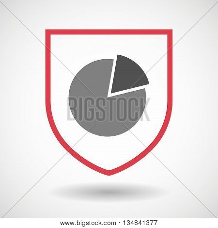 Isolated Line Art Shield Icon With A Pie Chart