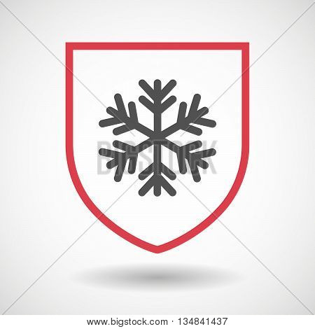 Isolated Line Art Shield Icon With A Snow Flake