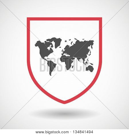 Isolated Line Art Shield Icon With A World Map
