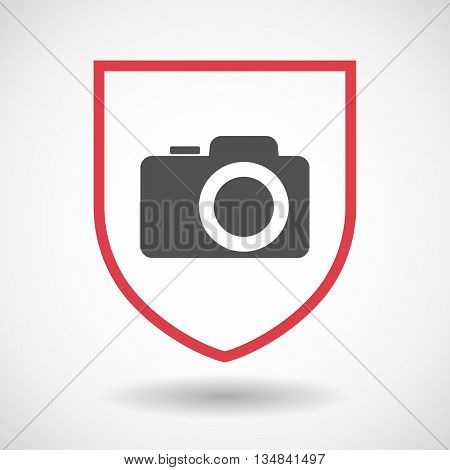 Isolated Line Art Shield Icon With A Photo Camera
