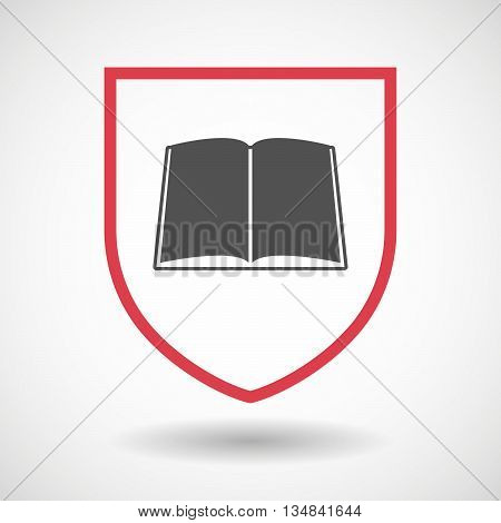 Isolated Line Art Shield Icon With A Book
