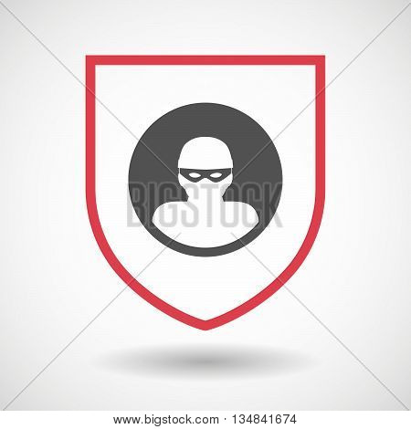 Isolated Line Art Shield Icon With A Thief