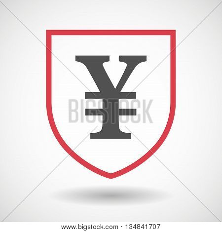 Isolated Line Art Shield Icon With A Yen Sign