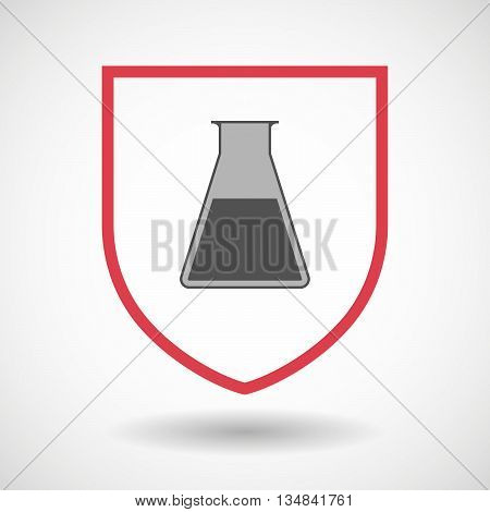 Isolated Line Art Shield Icon With A Flask