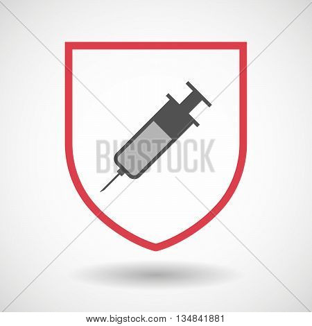 Isolated Line Art Shield Icon With A Syringe