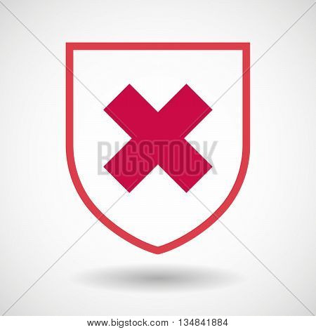 Isolated Line Art Shield Icon With An X Sign