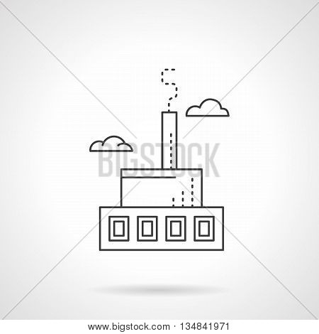 Manufacturing building and facilities. Ski production factory. Industry of sport items. Flat line style vector icon.
