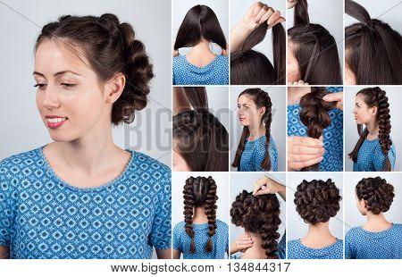 Hair tutorial. Hairstyle volume braids tutorial. Backstage technique of weaving plaits. Hairstyle. Tutorial. Braided updo tutorial