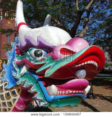 The Traditional Dragon Shaped Figurehead Of A Dragon Boat